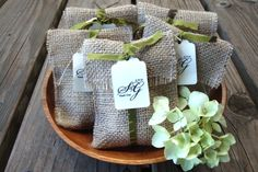 rustic wedding - favor or rice or birdseed bags - use fabric, denim, or burlap; depending on content, you may be able to fold - instead of stitch - a square of fabric and tie with ribbon