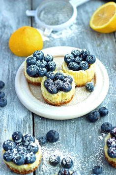 Miniature Lemon Blueberry Cheesecakes #delightfuldesserts