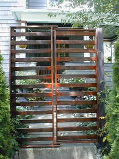 Futon frame repurposed as gate