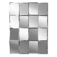 16 bevelled panels make this abstract mirror a true statement piece that is perfect for a long hallway or larger spaces. Chandeliers, Unique Mirrors, Long Hallway, Home Decor Furniture, Decoration, Shelves, Squares, Larger, Abstract