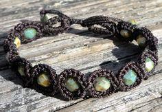 Crochet Jewelry Bohemian Bracelet Dark Brown by GlowFlyJewelry