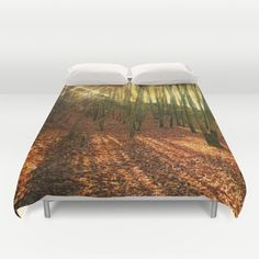 Glittering forest Duvet Cover  The sun shines through the trees of a broadleaf forest. For the original pic, please look here: https://society6.com/product/autumn-sun-and-shadows_print#1=45 sunrays, sunbeams, landscape, nature, orange, fall, autumnally