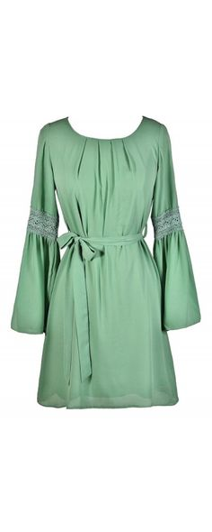Ring My Bell Longsleeve Dress in Sage  www.lilyboutique.com