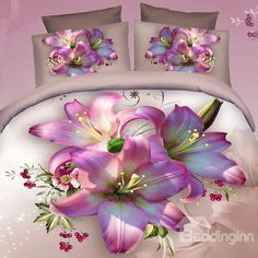 Excellent Pink Lily Print 4-Piece 100% Cotton Duvet Cover Sets