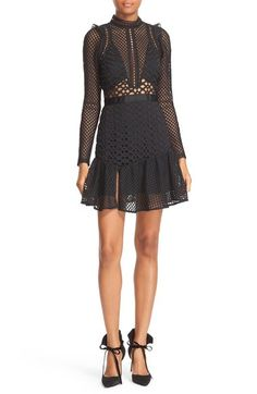 Bought this in Bijenkorf! Such an edgy dress! Self-Portrait Hall Lace Mesh Minidress #mynewfavelabel