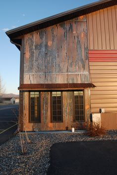 Corrugated metal as accent with awning