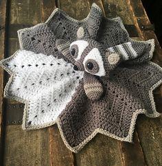Twig the Raccoon Lovey crochet pattern standard version Crochet Lovey Free Pattern, Crochet Blanket Patterns, Baby Blanket Crochet, Baby Patterns, Free Crochet, Knit Crochet, Booties Crochet, Free Knitting, Dress Patterns