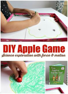 DIY apple game to explore force and motion science with preschoolers. Create…
