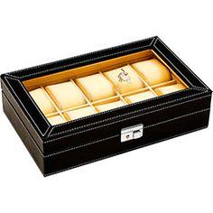 98c1c411d43 Porta-Relógio em Caixa de Couro Sintético Preto - BTC Couro Sintético  Preto