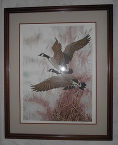 """Signed Framed Lithograph by Chris Forrest """"The Voyagers"""" Geese Nature #NatureBirds"""
