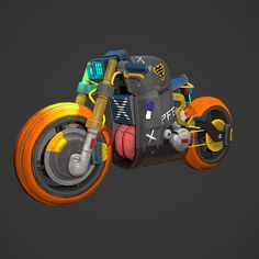 Cyberpunk bike Stylized bike -LOW made in -HI made in Zbrush -Textured in SubstancePainter -Rendered in Marmoset Toolbag 3 -The total polycount: 7539 Polys Concept Motorcycles, Cool Motorcycles, Japanese Motorcycle, Motorcycle Art, Car Illustration, Illustrations, Bike Sketch, Spiderman Art, Futuristic Cars