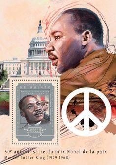 Post stamp Guinea GU 14606 b anniversary of Martin Luther King Jr.'s Nobel Prize Acceptance Speech (John Fitzgerald Kennedy Nobel Prize Winners, Acceptance Speech, John Fitzgerald, Martin Luther King, 50th Anniversary, All Art, King Jr, Stamps, Movie Posters