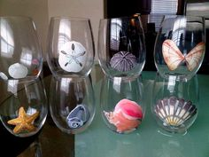 Hand Painted Sea Shell wine glasses by lgrn22 on Etsy, $12.00