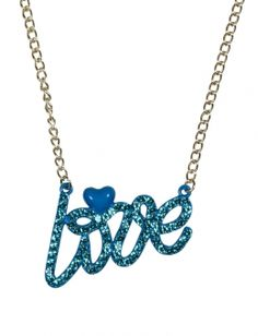 Rhinestone Love Necklace from justice for alia