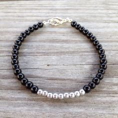 Silver on Black Simple Beaded Bracelet on Etsy, $10.00