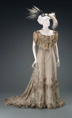 Cream and Silver Beaded Evening Gown1905