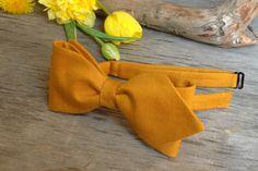 SALE 30% OFF Bow Tie Mustard Yellow Cotton (SELF Tie)   Bow Tie Mustard Yellow   Classic Bow Tie Wedding Bow Tie - $9.70 USD