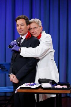 9e317d5f37 Pierce Me, Baby Harrison Ford pierced Jimmy Fallon's ear during a hilarious  Nov. 1 appearance on Late Night.