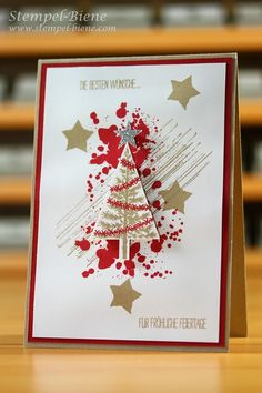 Stampin' Up! ... handmade Christmas card from Stempel-Biene ... grunge in gold and red ... tree punch focal point ... fun look!