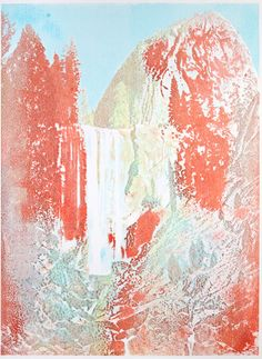 Matthew Brandt, Photograph of Vernal Falls in Yosemite, printed with Jello(!) in a CMYK color model. Vernal Falls, Colorful Cakes, Kool Aid, Jello, Fine Art Photography, Art Pieces, Artsy, Illustration, Prints