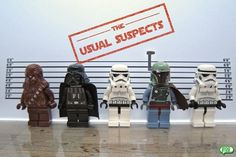Chewbacca must be the control suspect. Lego Star Wars, Star Wars Boba Fett, Star Wars Art, Star Trek, Lego Stormtrooper, Chewbacca, Aniversario Star Wars, Funny Blogs, Funny Pics