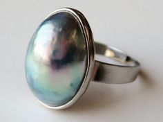 Osmena Awesomeness! Vintage 60s Silver South Seas Exotic Nautilus Shell Pearl Adjustable Cocktail Ring
