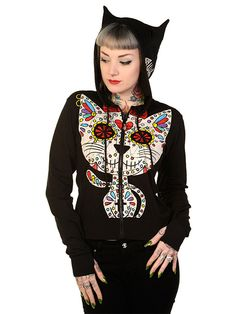 """Women's """"Sugar Kitty and Fish"""" Zip-Up Hoodie by Banned Apparel (Black)"""