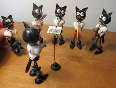 Vintage Wooden Painted Cat Band Germany Erzgebirge Saxophone Drum Figurines | eBay