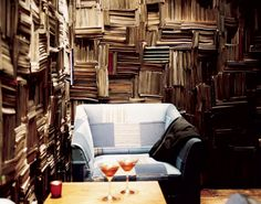 stacked book walls
