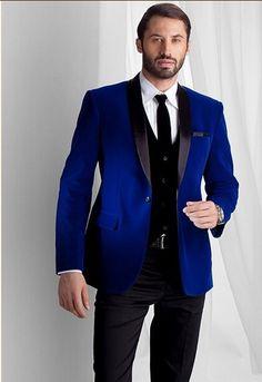 Nova Chegada Azul de Veludo Jantar Partido Prom Ternos Do Noivo Smoking Dos Homens Padrinhos de Casamento Ternos Blazer (Paletó + Calça + colete + Gravata) K: 1183