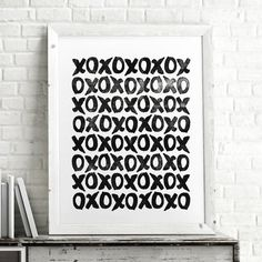 XOXO hugs and kisses http://www.notonthehighstreet.com/themotivatedtype/product/xoxo-hugs-and-kisses-illustrated-pattern-art-print Limited edition art print, order now!