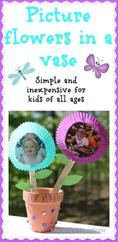 Handmade picture flowers in a pot. Fun and inexpensive craft for kids to make for Mother's Day.