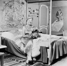 Peggy Guggenheim on her bed with Alexander Calder's Silver Bedhead (1945–46) - Venice