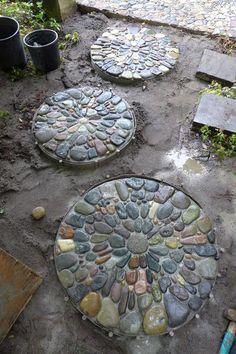 Lilypad Pebble Mosaic Stepping Stones • Gardens by Jeffrey Bale