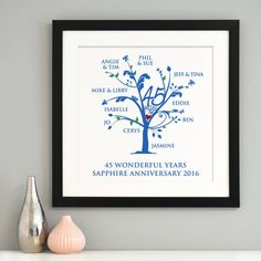 Stylish, personalised family tree art, with your own family members' names - the perfect gift to celebrate 45 wonderful years together! This art is unique to the recipients to mark their Sapphir. 45th Wedding Anniversary Gifts, Emerald Anniversary, Anniversary Gifts For Parents, Anniversary Parties, Anniversary Ideas, Family Tree Format, Family Tree Print, Personalised Family Tree, Sapphire Wedding