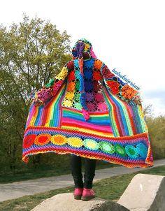 Ravelry: babukatorium's Kaleidocoat - Multicolor Multimotif Striped And Hooded Hippie Crochet Coat