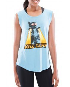 Kill Cliff Women's Laser Cat Capped Blue T-Shirt - Women - Apparel