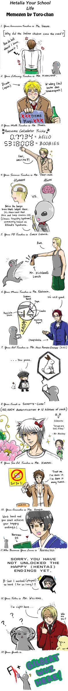 Hetalia: Hetalia School Meme by ~khakipants12 I can't help it, its just so funny!
