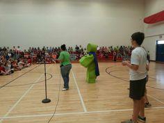 EDGAR at a pep rally at Belle Heth Elementary School!