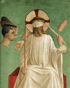 Fra Angelico - The Mocking of Christ. Detail of Convent of San Marco fresco. Fra Angelico, Renaissance Kunst, Renaissance Paintings, Italian Renaissance, Fresco, Italian Paintings, Biblical Art, Italian Art, Tempera