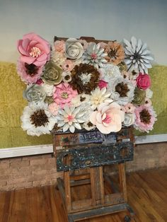 Paper flower backdrop wall by Katy Higgins of Prairie Kate Creations #prairiekate