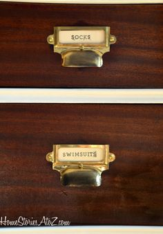 I gave the drawers a few coats of Shellac and replaced the old hardware with these awesome catalog pulls. The pulls came from VanDykes. I paid a little over $2 a pull. Watch the prices because they seem to jump drastically from week to week on various pulls. The pulls I really wanted were $8 each, but this week they are priced at only $2.29. Huh? Ah well, these worked out great. I used black Rub n' buff to tone down the brass. I'll do a separate tutorial on the pulls for you soon