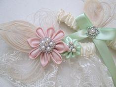 Blush & Mint Wedding Garter Set Peacock Garters Ivory Lace
