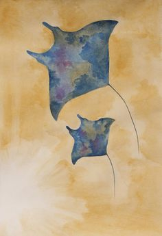Another attempt at watercolors. My Manta Ray painting: If it sells, the profits will go to http://mantatrust.org and http://oceanconservancy.org