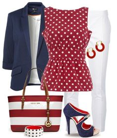 #20 Navy blue jacket + Red blouse + White pants + navy blue shoes + Red/White handbag