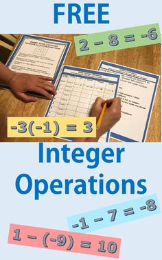 Your students will get lots of practice and have fun with these FREE integer operation problems. After finding the answers, they use the clues to find the mystery number! Includes: 20 problems with 4 parts each = 80 problems (2 games) Detailed notes for the students Teacher Prep, Instructions, and Suggestions Integer Worksheet and Clue sheet Answer key #Middle School, #Upper Elementary, #Integer, #Operations, #Integer Operations, #Activity #Free Integers Activities, Integers Worksheet, Algebra Worksheets, Math Activities, Subtracting Integers, Algebra 1, Numeracy, Homeschool Math, Homeschooling