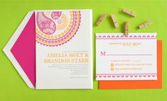 Must look at the detail photo on the link :) India inspired invitations, Letterpress invitations, by inkprint letterpress