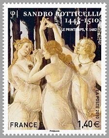 Sandro Botticelli 1445-1510 Les trois grâces Le printemps - Timbre de 2010