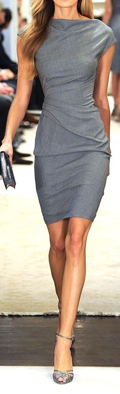 Professional, simple, and interesting lines! I like the neckline on this dress, and the basic grey color.