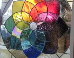 Stained Glass Panel Rainbow Colorwheel